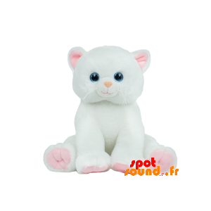 Chat blanc et rose, en peluche. Peluche chat