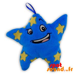 Blue Star Gevuld Met Gele Sterren - PELFR040289 - plush