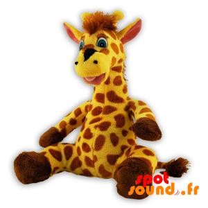 Girafe jaune et marron, en peluche. Peluche girafe - PELFR040291 - plush