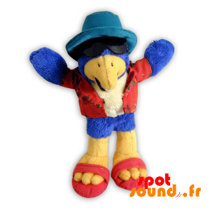 White Blue And Yellow Bird, Stuffed. Plush Summer - PELFR040292 - plush