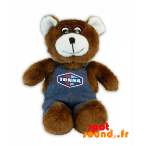 Brown Teddy, Stuffed With Overalls - PELFR040293 - plush