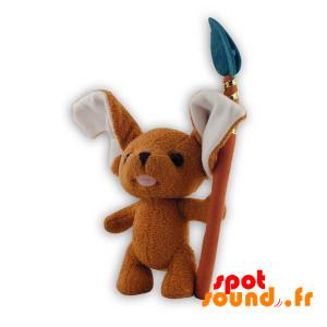 Chiot marron en peluche. Peluche chiot marron et blanc - PELFR040296 - plush