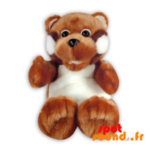 Nounours marron et blanc, en peluche. Peluche nounours poilu - PELFR040297 - plush