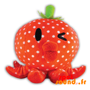 Squid Stuffed With White Dots. Plush Strawberry - PELFR040298 - plush