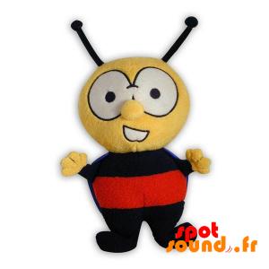 Abeille en peluche, jaune, noire et rouge. Peluche abeille - PELFR040300 - plush
