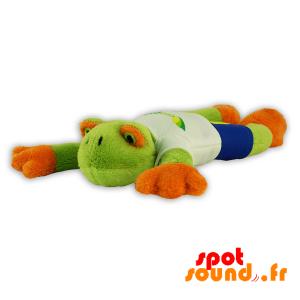 Grenouille verte et orange, en peluche. Peluche grenouille - PELFR040303 - plush