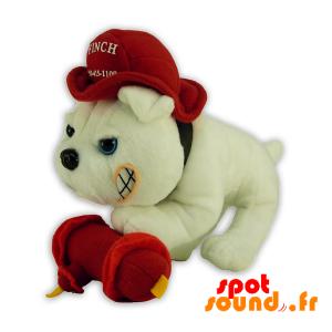 perro de peluche con un casco de bombero. perro de peluche - PELFR040306 - plush
