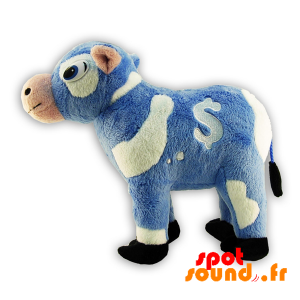 Blue And White Stuffed Cow. Plush Cow - PELFR040311 - plush
