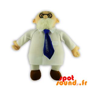 Médecin barbu, en peluche, avec une blouse. Peluche docteur - PELFR040313 - plush