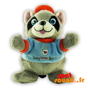 Raccoon Stuffed With Blue Sweater - PELFR040315 - plush