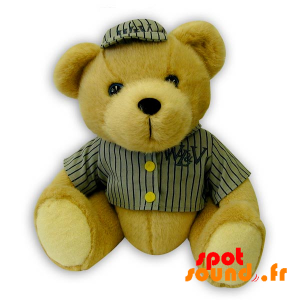Beige Teddy Bear With A Baseball Outfit - PELFR040316 - plush