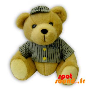 Nounours beige en peluche avec une tenue de baseball - PELFR040316 - plush