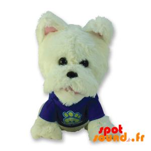 blanco perro de peluche con una camisa azul - PELFR040317 - plush