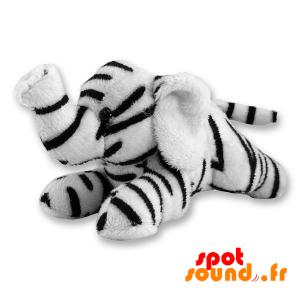 Witte Olifant, Gevuld Met Zwarte Strepen - PELFR040322 - plush