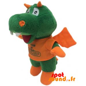 Dragon en peluche, vert et orange. Peluche dragon Léon - PELFR040331 - plush