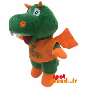 Dragon Plush, Green And Orange. Plush Dragon Leon - PELFR040331 - plush