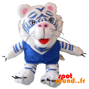 Stuffed Tiger, White And Blue. Plush White Tiger - PELFR040334 - plush