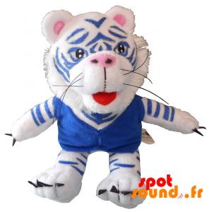 Tigre en peluche, blanc et bleu. Peluche tigre blanc - PELFR040334 - plush