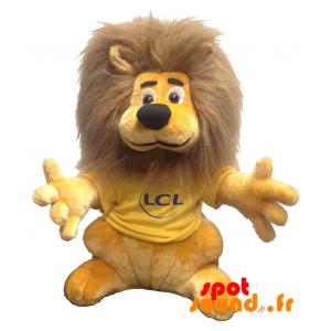 Lion en peluche, LCL. Peluche lion LCL, jaune et marron - PELFR040338 - plush