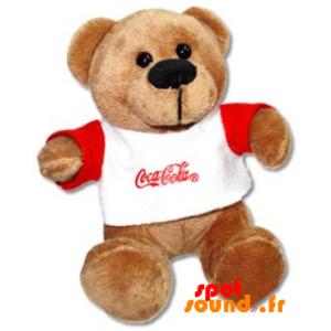 Nounours marron en peluche avec un pull Coca Cola - PELFR040346 - plush