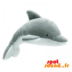 Dauphin en peluche, gris et blanc. Peluche dauphin - PELFR040360 - plush