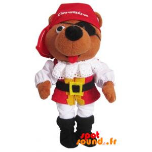 Brown Teddy Bear Dressed As Pirates. Plush Corsair - PELFR040361 - plush