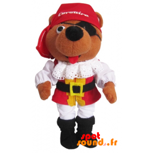 Brown Teddy Bear Dressed As Pirates. Plush Corsair - PELFR040361 - plush