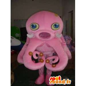 Octopus rosa mascotte - polpo Costume - Fondale