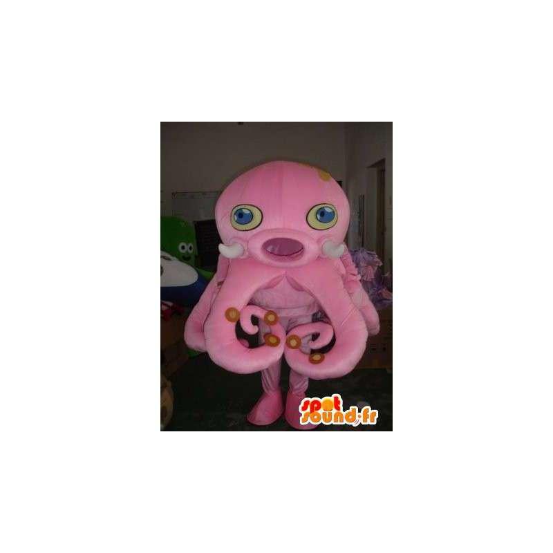 Octopus rosa mascotte - polpo Costume - Fondale - MASFR00436 - Mascotte dell'oceano