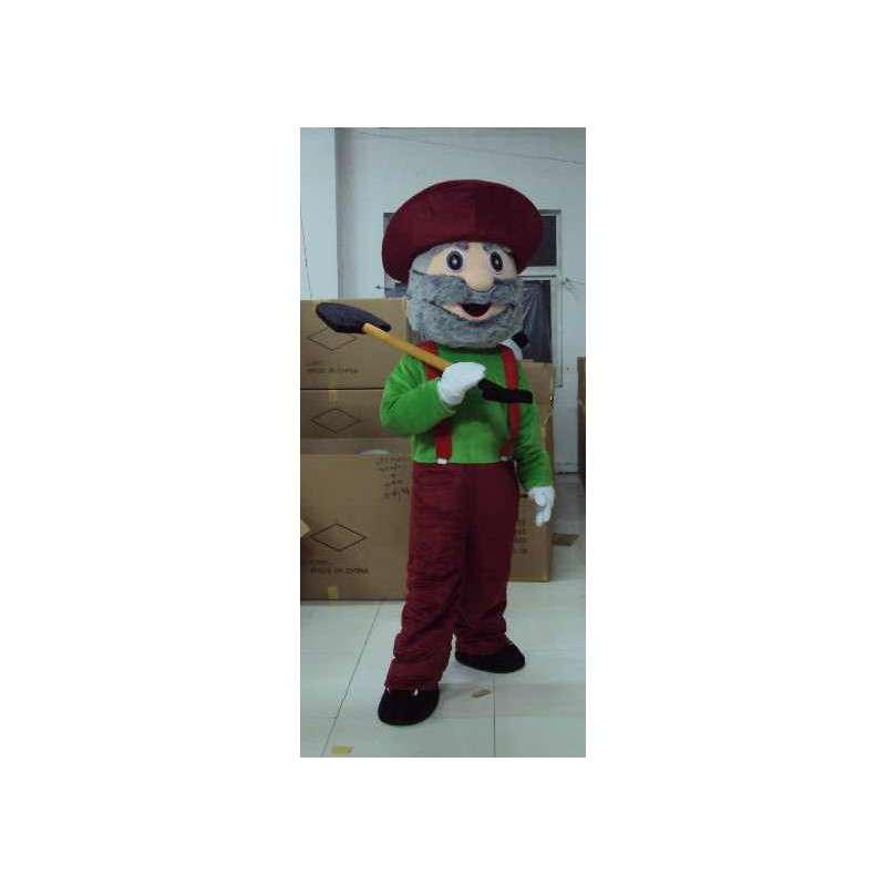 Muž maskot Mine - s lopatou a klobouk příslušenství - MASFR00449 - Man Maskoti