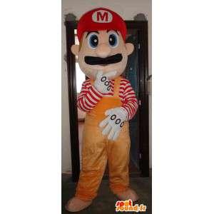 Mario Maskottchen orange - Mascot Schaumplast mit Zubehör