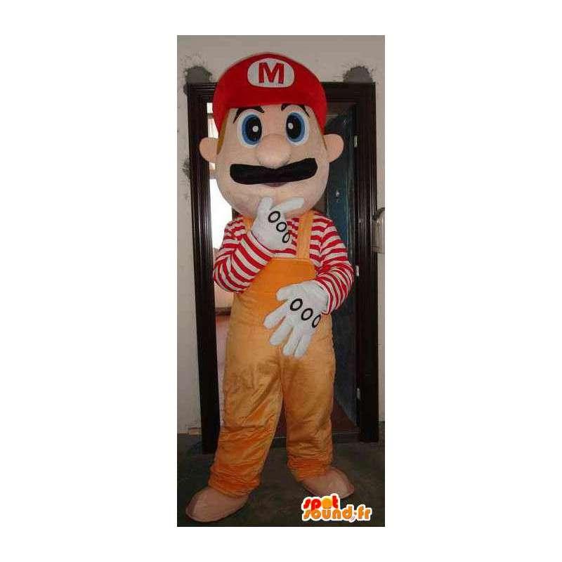 Mario πορτοκαλί μασκότ - μασκότ πολυστυρένιο με αξεσουάρ - MASFR00451 - Mario Μασκότ