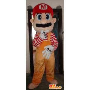 Mario Maskottchen orange - Mascot Schaumplast mit Zubehör - MASFR00451 - Maskottchen Mario