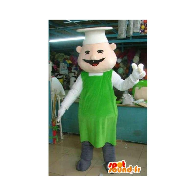 Mascotte Chef cuisinier - Tablier vert - Accessoires chinois - MASFR00292 - Mascottes Homme