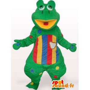 Green Frog Mascot decorated with yellow and red