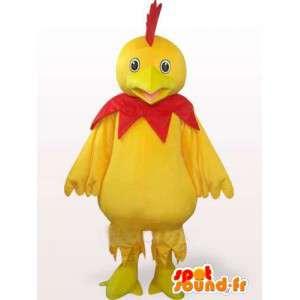 Mascote Galo amarelo e vermelho - Ideal para equipe de esportes ou à noite