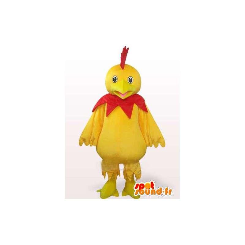 Maskottchen Hahn gelb und rot - Ideal für Sport-Team oder Abend - MASFR00242 - Maskottchen der Hennen huhn Hahn