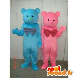 Mascots torque blue and pink teddy bear - Bear wood - Plush