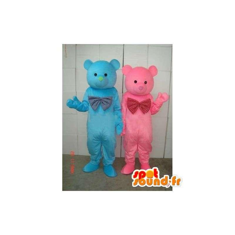 Mascotte coppia blu e rosa orsacchiotto - legno Bear - Peluche - MASFR00269 - Mascotte orso