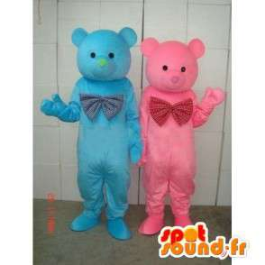 Mascots torque blue and pink teddy bear - Bear wood - Plush - MASFR00269 - Bear mascot
