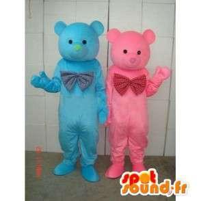 Mascottes couple Nounours bleu et Rose - Ours des bois - Peluches - MASFR00269 - Mascotte d'ours