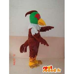 鳥 - マスコット緑と茶色のワシ - 獲物のコスチューム