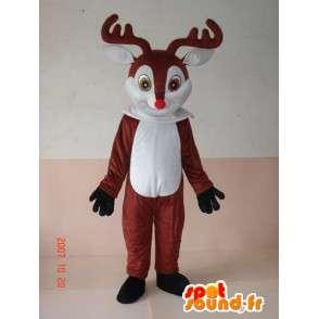 Mascot Deer wood - Petit Nicolas - rode neus mascotte voor Kerstmis - MASFR00256 - Kerstmis Mascottes