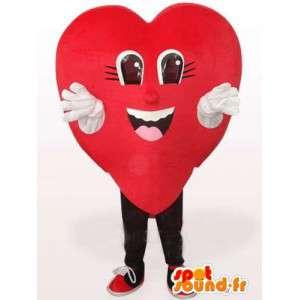Rød hjerte maskot - Forskellige størrelser og hurtig