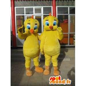 Titi-Maskottchen - Kanarische Yellow Pack 2 - Berühmte Persönlichkeiten - MASFR00181 - Maskottchen Tweety und Sylvester