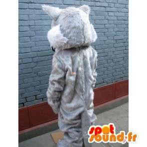 青い目と白い毛皮を持つウルフマスコット - イブニングスーツ - MASFR00245 - ウルフマスコット