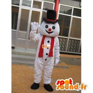 χιονάνθρωπος μασκότ με το καπέλο αξεσουάρ - μεταμφίεση