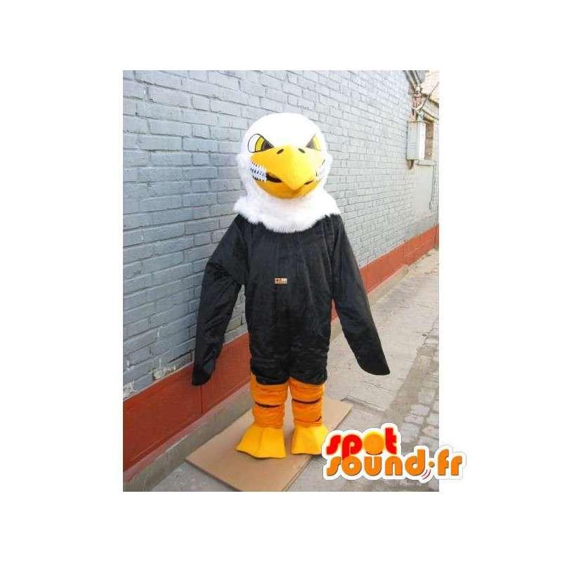 Aquila mascotte classico giallo, sorriso assassino in bianco e nero - MASFR00226 - Mascotte degli uccelli