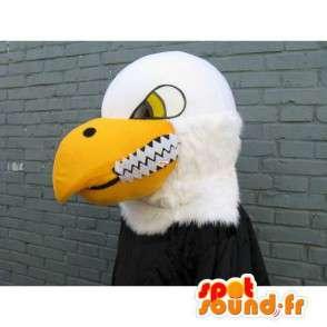 Maskot klasický žlutý orel, černá a bílá zabijácký úsměv - MASFR00226 - maskot ptáci