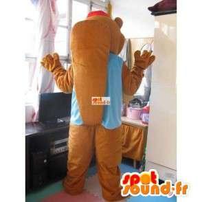 Mascotte Ours fun à casquette avec gilet bleu - Peluche animale - MASFR00309 - Mascotte d'ours